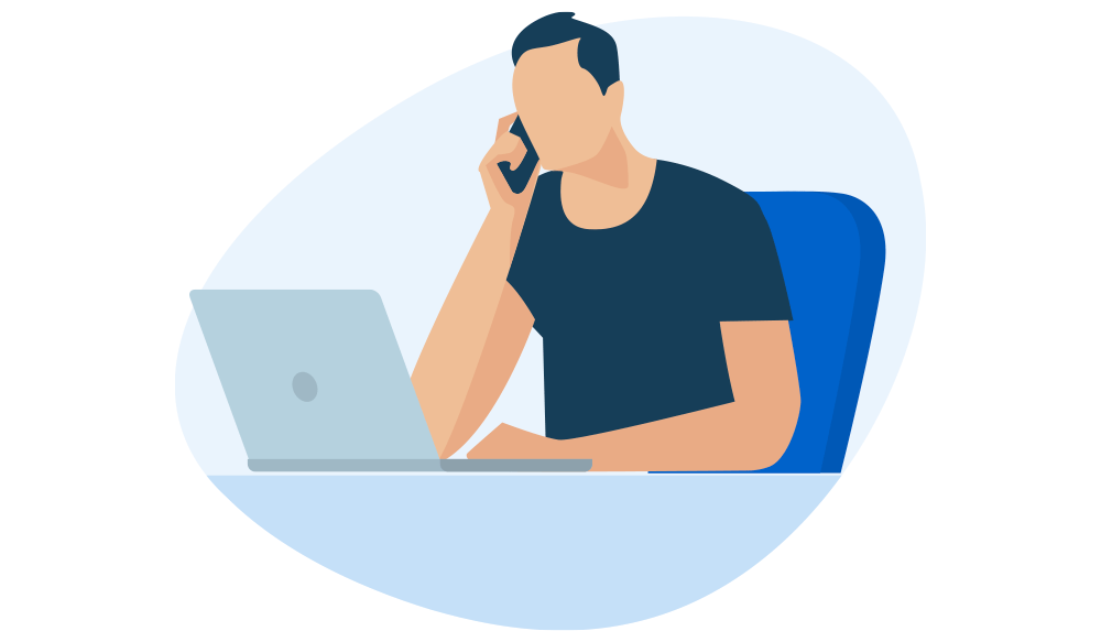 Man on phone and laptop icon