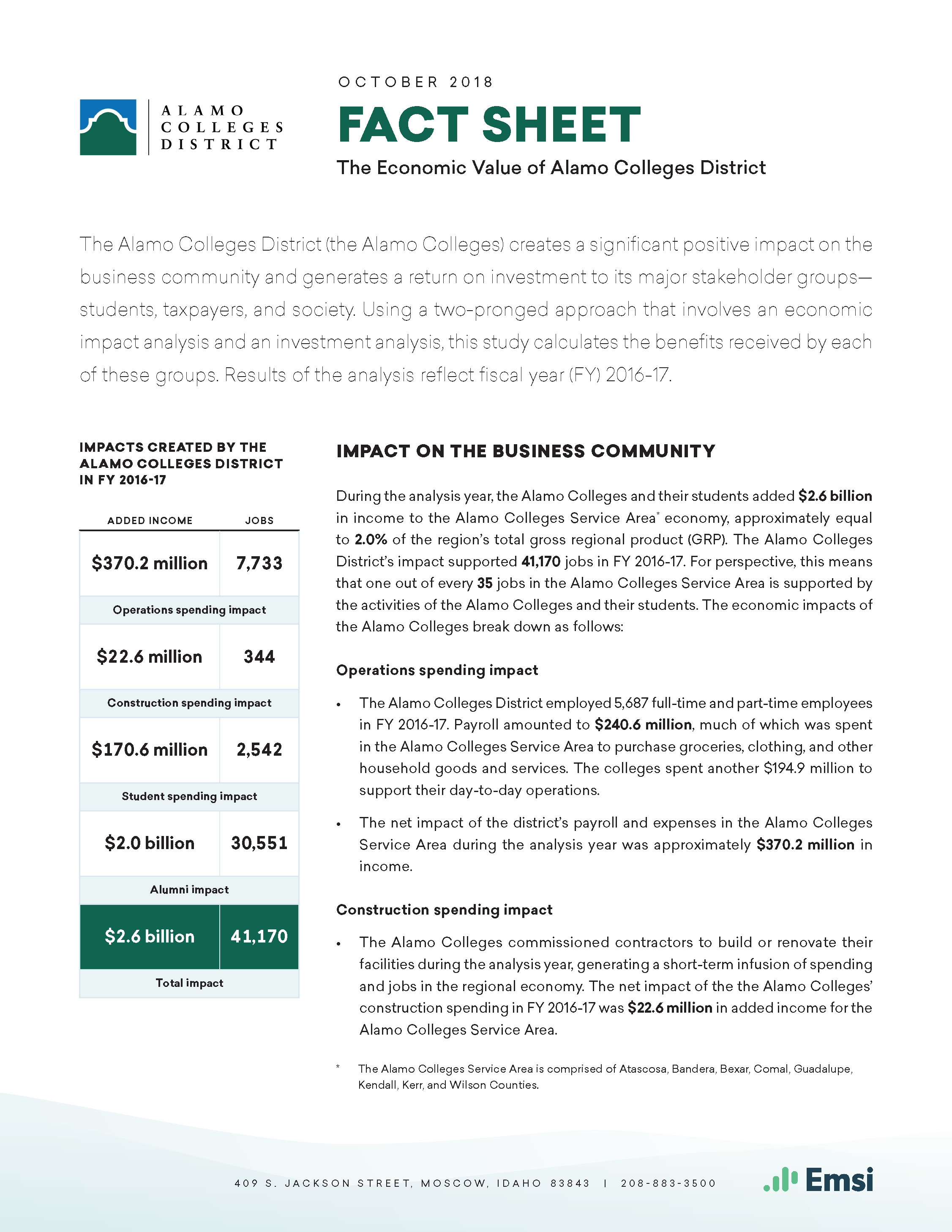 Alamo Colleges District Fact Sheet Front Page Image