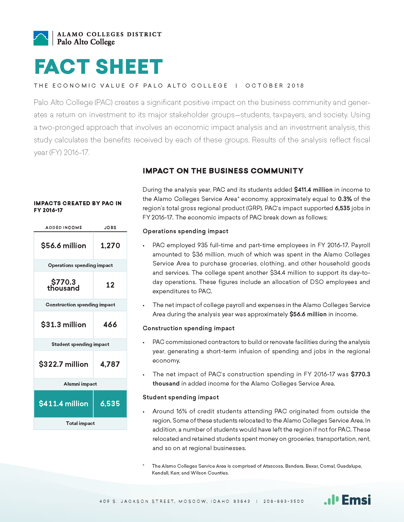 Palo Alto College Fact Sheet Front Page Image