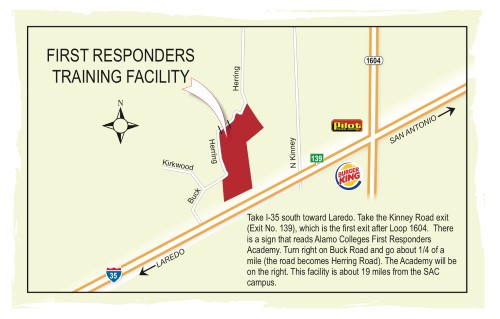 A map showing the location of the First Responders Training Facility with text directions.