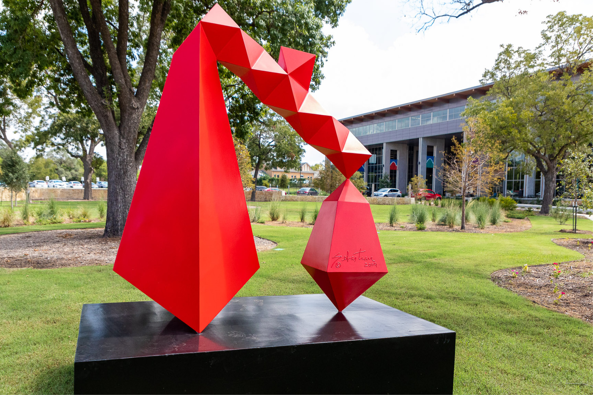 Red Sculpture Outside District Support Operations Building