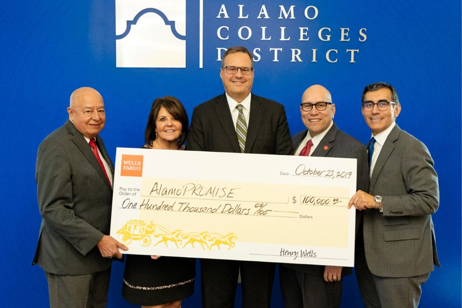Wells Fargo Presenting Large Check To The Alamo Colleges District