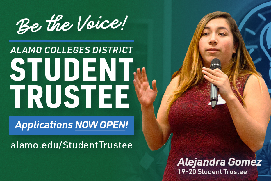 Alejandra Gomez 2019 - 2020 Student Trustee with microphone