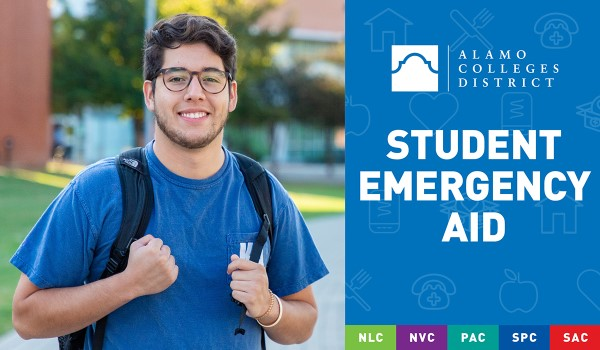 Male student smiling next to text: Student Emergency Aid