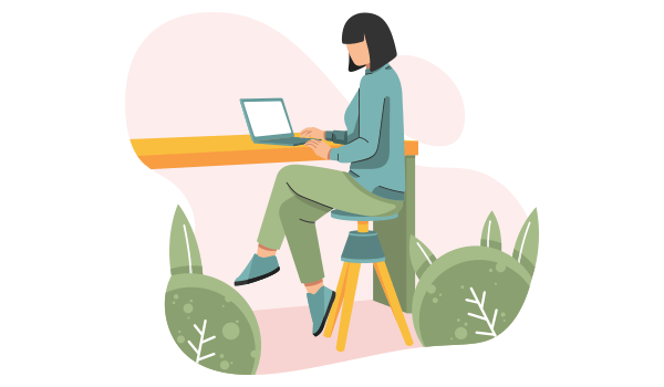 Illustration of woman using a laptop