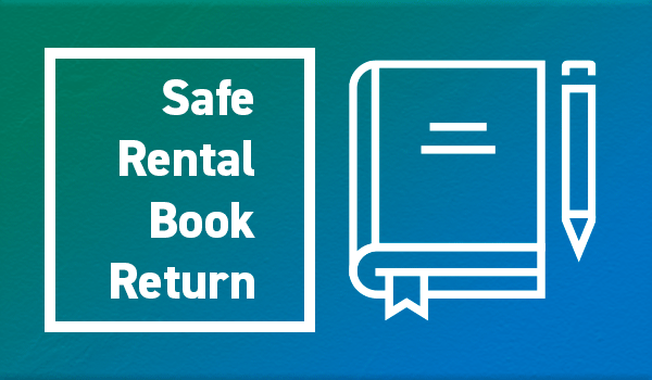 Text: Safe Rental Book Return next to Book icon