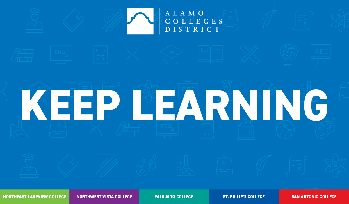 Keep Learning Plan Graphic - education icons on a blue background with the words Keep Learning - All five colleges are listed below