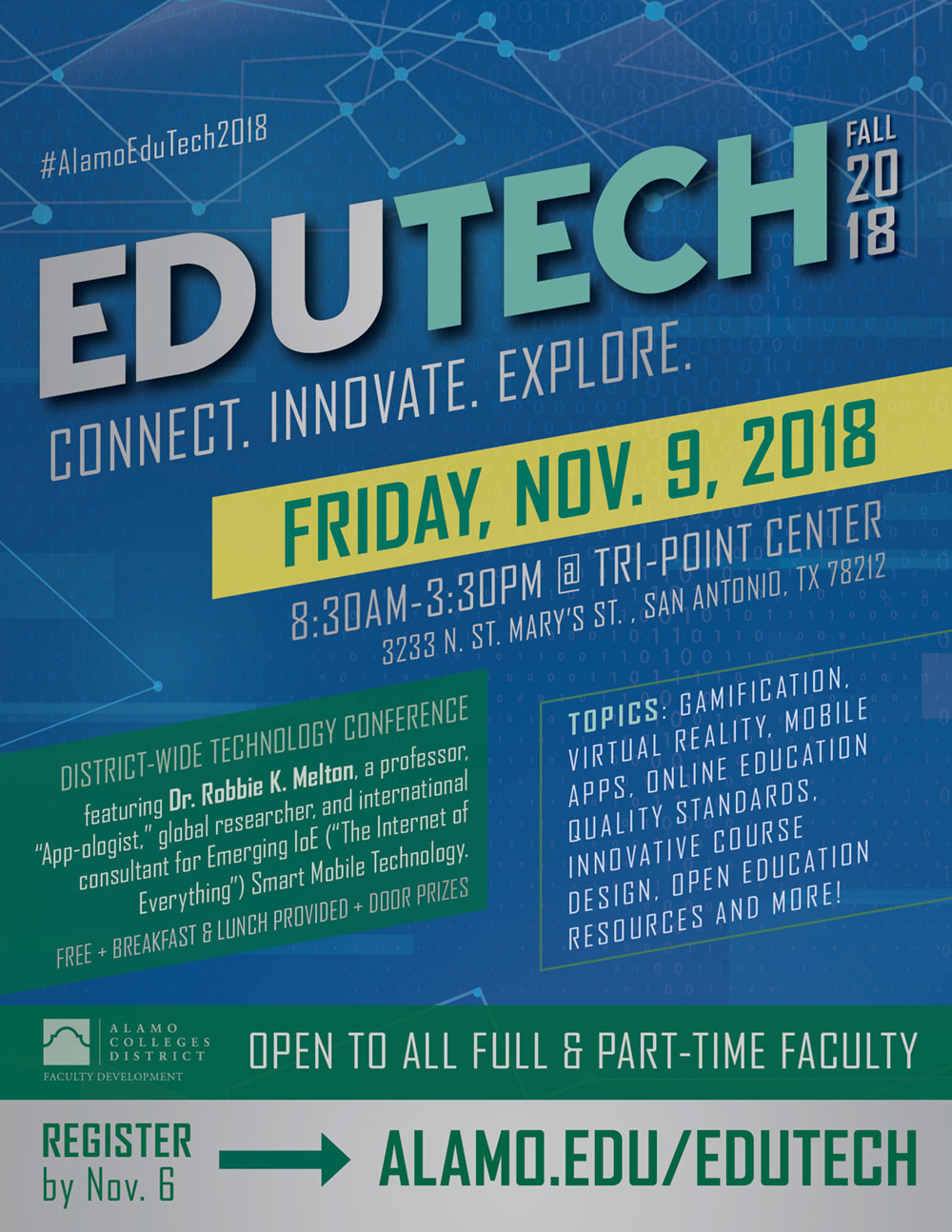 Flyer announcing EduTech Fall 2018, Alamo Colleges District-Wide Free Technology Conference. Colors are shades of Alamo Colleges blue and green with a yellow save the date bar.