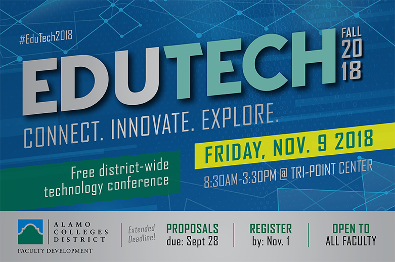 Announcement for EduTech, a free district-wide technology conference open to all Alamo Colleges District faculty.